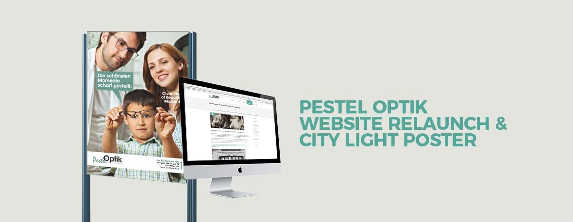 Pestel Optik Website Relaunch & City light poster
